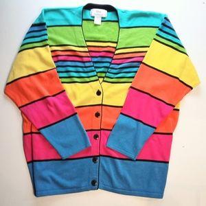 Colorful Bold Stripe Lightweight Cotton Cardigan